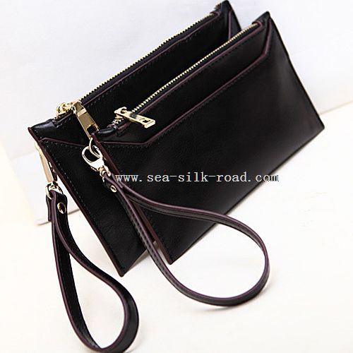 lady genuine leather envelope clutch bag