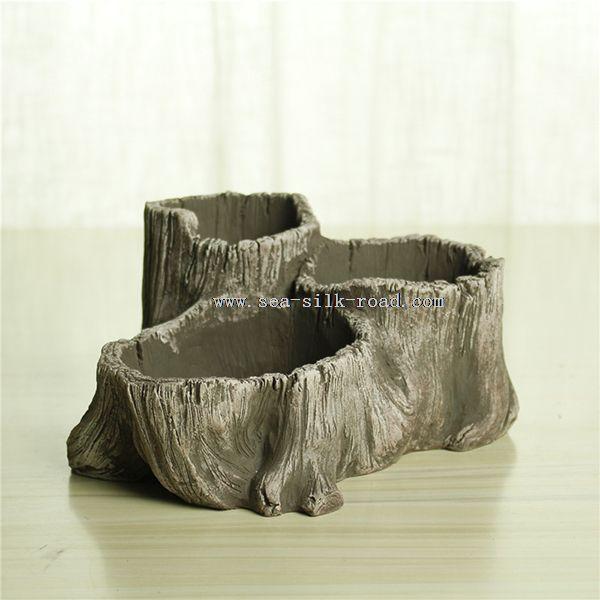 cement tree stump fancy small flower pots